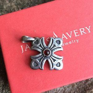 James Avery silver and garnet cross pendant